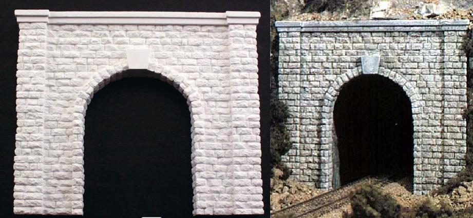 CCH-8401 2 sides HO Scale Stepped Stone Wall Tunnel Abutments